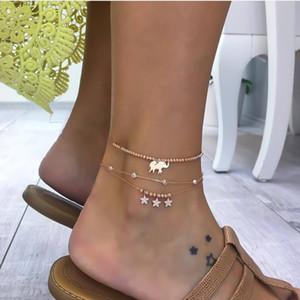 K003 3pcs catena regolabile / Set caviglia Elephant Star Gold multistrato Womens Anklet Beach