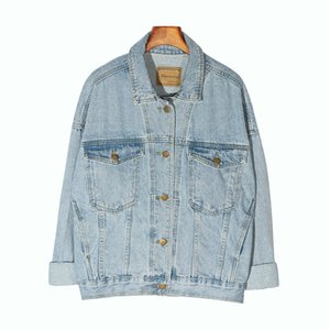 E-BAIHUI Vintage Women Jacket 2020 Autumn Winter Oversize Denim Jackets Washed Blue Jeans Coat Turn-down Collar Outwear Bomber Jacket