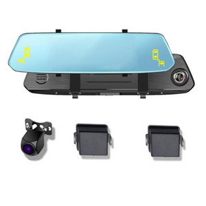 "10"" Car Blind Spot Monitoring System Sensor Distance Assist Lane Changing Dash Cam Mirror DVR Camera Full HD 1080P"