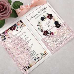 100pcs Custom Rose Gold Glitter Laser Cut Hollow Wedding Invitations Pearlized Paper Cards with Envelope