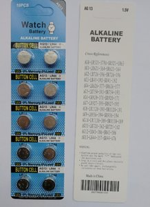 1000packs AG13 LR44 A76 1.5 v células alcalinas botão, 10 pcs por pacote de cartão da bolha 0% Hg Pb AG13