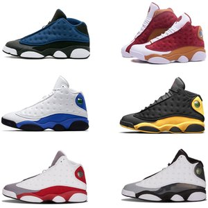 sapatas do desenhista 13s homens sapatos de desporto Mulheres GS Hiper Real Itália Azul Bordeaux Flints Chicago Bred size40-46 DMP trigo Olive Black Cat sneakers