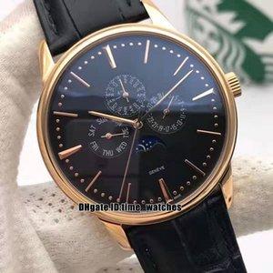 NUEVO 42mm Luxury Patrimony 43175 / 000R-B343 Reloj automático para hombres Caja de oro rosa Esfera negra Fecha de la fase lunar Hombres relojes deportivos Correa de cuero