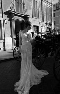Novas restaurar antigas formas costume sexy profunda rendas v-pescoço vestido de casamento da igreja manga longa, sem encosto de uma cadeira 2018