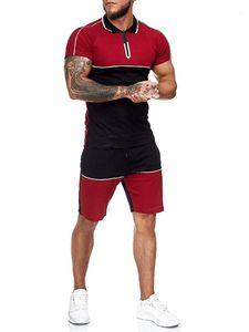 Short Sleeve Two Piece Shorts Sets Mens Contrast Color Tracksuits Color Panelled Mens Designer Tracksuits Casual Slim