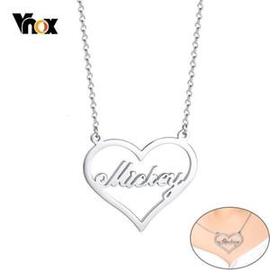 Vnox Personalize Custom Name Neckalce Heart Pendant Love Gift Stainless Steel Choker for Women Elegant Jewelry