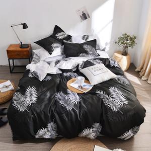 Bonenjoy Housse de couette drap de lit Taie 3 / 4pcs Queen Size Literie mélange de coton noir Arbres imprimé double Linge de lit