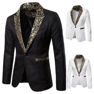 Suits Single Button Long Sleeve Lapel Neck Mens Clothing Mens Designer Blazers Slim Printed Wedding Mens
