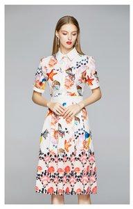 Ocean World Printing Dresses Fashion New Women's Sliming Dress Short Sleeve Lapel Neck Lady's Summer Shirt Dress