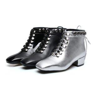 Sıcak Satış-Gladyatör Bilek Boots 2018 Pist Kadın Martin Boots Siyah Şerit Bayanlar Motosiklet Boots Gerçek Deri Şövalye Ayakkabı