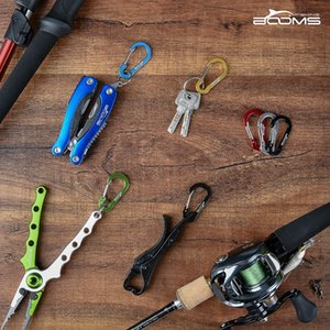 Booms Fishing CC1 6Pcs Aluminum Alloy Carabiner Keychain Outdoor Camping Climbing Snap Clip Lock Buckle Hook Fishing Tool 6Color