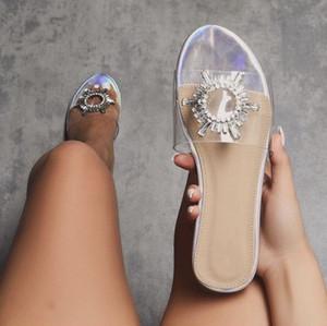 Vestido de diapositivas de cristal de diamante de PVC claro transparente Zapatillas Zapatos de mujer Peep Toe fiesta de la boda Damas de compras de la mariposa del nudo de Diapositivas