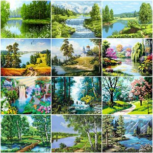 2020 Oil Painting By Numbers Scenery DIY Pictures By Numbers Tree Landscape Summer Kits Drawing Canvas HandPainted Home Decor