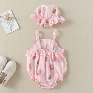 Baby-Kleidung-Mädchen-Strampler Erdbeere Sommer-Dreieck Prinzessin Sling kletternde Kleidung Sonnenhut Zwei Stücke Set-Kind-Baby-Overall-CZ324