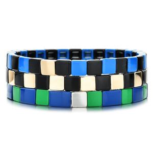 ZMZY Bohemian esmalte pequeno Azulejo bonito contas elástico pulseiras para mulheres / homens pulseiras Personalizar Diy do arco-íris pulseira Jóias