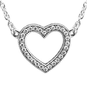 Clear CZ Love Heart Choker Necklaces for Women 925 Sterling Silver Necklaces Jewelry Femme Valentine Day Statement