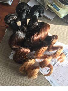Ombre Hair Extensions Rohboden Indian lösen Welle 3pcs Günstige Ombre Drei-Ton-Farbe 1b 4 27 30 Curly Menschliches Haar Weaves Bundles