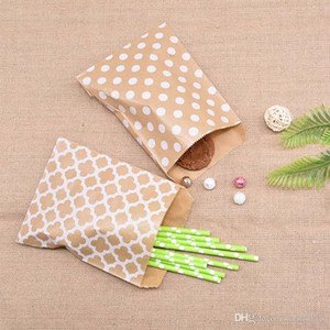 25Pcs lot Kraft Paper Biscuit Candy Bags Gift Packing Pouch Birthday Party Decoration Dessert Candy Bar Bag Snack Cookie Bags 18x13cm(5&quot