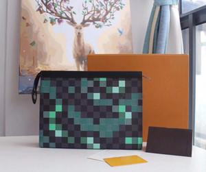 cubrieron la lona de calidad superior nuevo embrague bolsa de diseñador para los titulares de la tarjeta de visita de cuero real de los hombres y mujeres cartera larga con caja N41696 W27 * H21
