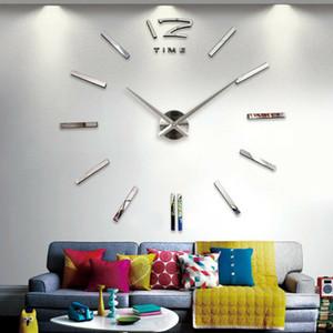 새로운 벽 시계 현대 디자인 DIY 아날로그 3D 미러 작은 수 벽시계 유럽 아크릴 스티커 홈 장식 수송선 표면