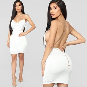 Style Dress Catena Cinturino Backless Solid Color Skinny Dress Famale Estate Abbigliamento moda Signore Sexy Nightclub