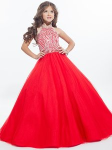 2020 Red Ball Gown Girls Pageant Dresses High Neck Halter Silvery Crystal Tulle Backless Toddler Little Girls Pageant Dresses