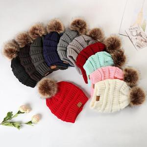 CC invierno hicieron punto los sombreros de las nuevas mujeres caliente grueso de la gorrita tejida de moda de Corea Mujer de punto Beanie capo casquillos al aire libre Pompoms Cap XD22696