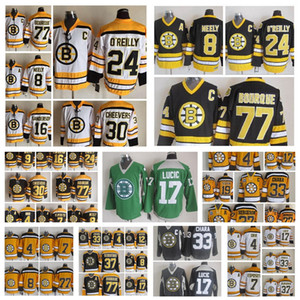 Moda retro Boston Bruins jerseys Cam Neely Ray Bourque Bobby Orr Johnny Bucyk Terry O'Reilly Negro para hombre de cosido de la vuelta de los jerseys del hockey