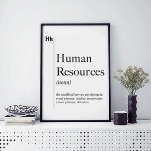 Human Resources Definition Print HR Office Decor Recruiter Coworker New Job Gift Poster Wall Art Scandinavian Canvas Painting