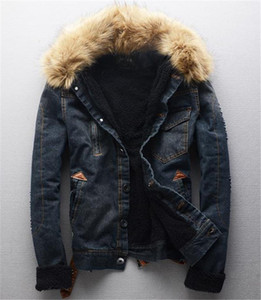 패션 슬림 단일 가슴 따뜻한 남성 칼라 후드 진 재킷은 남성 의류는 세척 남성 디자이너 겨울 재킷 Jean
