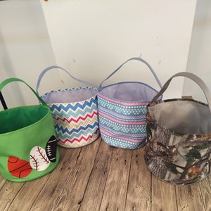 Polka Dot Easter Buckets Wholesale Blanks Camo Baskets Polyester Leaf Easter Tote Bags Easter Egg Collecting Bags DOM1061206
