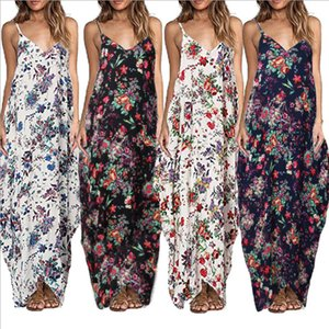 Womens Designer Dresses Sexy Floral Printed Sleeveless Long Dress Loose Pullover Camisole V Neck Casual Dress