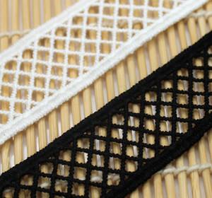 Nouveau matériau 2.5cm dentelle maille tissu dentelle brodée inélastique bricolage Matériel Vêtements Accessoires ruban de dentelle LB033