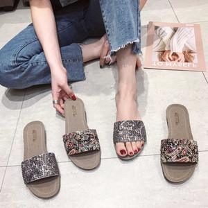 Goddess2019 тапочки из идти женщина нескользящей плоский носок горный хрусталь один шрифт лето социология студент сандалии