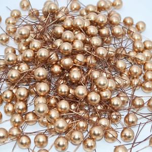 50pcs 12mm boda de Navidad mini perla de plástico Estambre de la flor artificial Cereza estambres Coronas de bricolaje caja de regalo Decoración