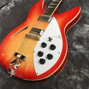 2020 Пользовательские красный 360 Semi 12-струнной Hollow Body Jazz электрическая гитара Ricken гитара, бесплатная доставка