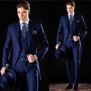 Костюмы Классический Пик нагрудные Свадебный смокинги Тонкий подходят для мужчин Groomsmen костюм Три пьесы Пром Формальные костюмы (куртка + брюки + жилет + Tie) W101