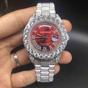 새로운 남자의 뾰족한 다이아몬드 시계 실버 다이아몬드 케이스 316L 스테인레스 스틸 스트랩 시계 자동 기계식 시계를 설정
