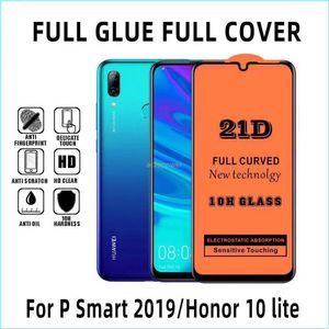 21D cobertura completa de vidro temperado para Iphone 11 Pro Max Xr Xs X Samsung Galaxy A20S A10 Huawei P20 Tela Pro Lite Protector nenhum pacote