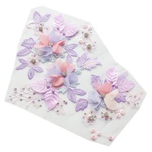 Net fios de bordado 3D Flores Rhinestone pano Applique Lace vestido de casamento Stage costura Acessórios para roupas de AY111