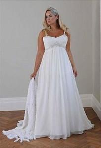 Плюс размер повседневные пляжные свадебные платья 2020 ремни спагетти из бисера шифон длиной до пола империя талия элегантные свадебные платья Vestidos de Novia