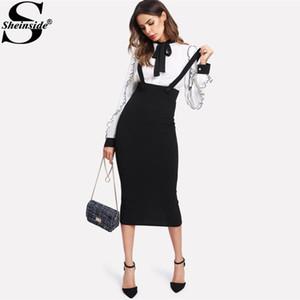 Sheinside 2017 High Cintura Slit Atrás Falda de lápiz con correa Negro Rodilla Longitud Llaza Cerrilla Falda Mujeres Elegante Invierno