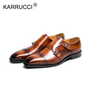 KARRUCCI Herren Double Monk Strap Slip on Loafer Cap Toe Leder Oxford Formelle Business Casual bequeme Kleid Schuhe für Männer