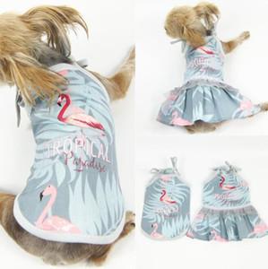 Flamenco Print Animales Chalecos ropa de moda impresos Perros Gatos vestidos cachorro con encaje de moda admiten Pareja Ropa Suministros