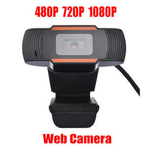 HD Webcam Web Telecamera 30FPS 480P / 720P / 1080P PC Microfono da assorbimento insonorizzato incorporato USB 2.0 Record video per computer PC Laptop in magazzino