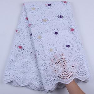 5Yards puro algodón africano tela con piedras de Nigeria cordón de la tela del cordón en seco de alta calidad suizo de la gasa En Suiza A1679