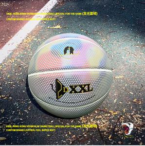 El nuevo DXXL 4º Holográfico Luminoso de baloncesto refleja la pelota de baloncesto blanca de cuero de la PU de cuero de interior de baloncesto al aire libre tamaño 7