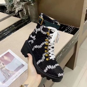 Fashion Designer Womens Ankle Boots Printing Leather chunky heels Brand Martin Boots Casual Luxury Platform Boot Winter Snow Work black Boot