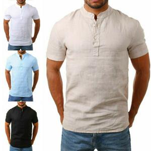 Nouveau style T-shirt Homme Linen Hommes Casual Couleur unie à manches courtes d'été respirant Top Plus Size 4 couleurs