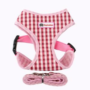 3pcs Respirant Plaid Pet poitrine bretelles Teddy Gilet chiot ceinture pectorale S rose collier de chien Plaid Tag Harnais Leash